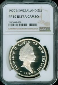 1979 NEW ZEALAND SILVER $1 DOLLAR NGC PF 70 ULTRA CAMEO FINEST KNOWN