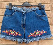 NUTSHELL BLUE FRINGE RIPPED DENIM EMBROIDERED VTG FESTIVAL SHORTS HOT PANTS 14 L