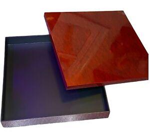 NATORI NA95-1348 Lacquer Square Box Tortoise Red Large Display Home Decor SEE LI