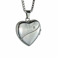 Crystal Heart Photo Locket - Memorial Keepsake Necklace - Engraving Available