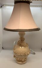 Whimsical Pale Pink Lamp for your Little Princess. Velvet Shade with Brown Trim