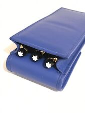 Blue Triple Magnetic Pen Case/Pouch. Real Soft Leather Hand Made