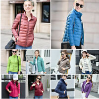 Women Slim Duck Down Jacket Lightweight Winter Short Coat Outerwear S-7XL