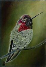 Hand Painted Original ACEO Oil Bird Wildlife  ANNA'S HUMMINGBIRD Signed by JV