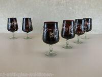 6 stück Original  Art Deco Überfangglas Weingläser Weinglas  in  Top Zustand