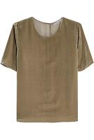 VINCE Sage Green Viscose & Silk Velvet Short Sleeve Relaxed Cut Top SZ M