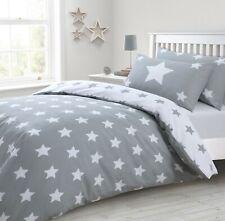 Grey & White Reversible Star Print Duvet Cover & Pillowcase Bedding set 4 sizes