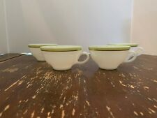 Vintage Pyrex Lime Green With Gold Trim Coffee Cup Set Of 4 G