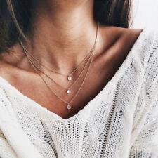 Damen Halskette 3-layer Strass Gold Kette Choker Blogger Vintage Körperschmuck