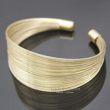 RUNWAY Gold Egypt Cleopatra 80s Multi Memory Fine Wire Cuff Bracelet Bangle