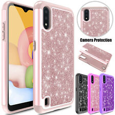 For Samsung Galaxy A01 Phone Case Bling Glitter Shockproof Hybrid Armor Cover