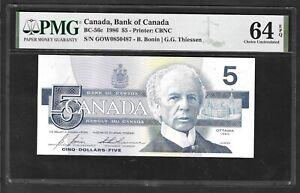 CANADA 5 DOLLARS - BC - 56c - 1986 - PMG CH UNC 64 EPQ - BIRD SERIES  - GOW