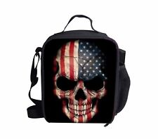 Cooler Insulated Lunch Bags Flag Skull Bento Box Kids Boys Food Storage Bags