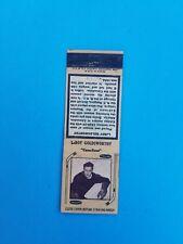 "1930's Diamond Match hockey player matchbook LeRoy Goldsworthy ""Canadiens"""