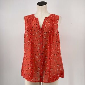 Cabi Top Pintuck Blouse Coral Floral Button Up Tank V Neck Sheer Size Large