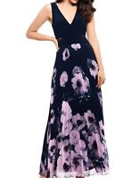 Xscape Women's Maxi Dress Blue Size 6P Petite V Neck Floral Pleated $189 #081