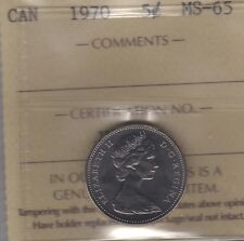 1970 Canada Five Cents (Nickel) Coin. ICCS MS-65