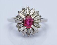 1.14ct Natural Ruby Baguette Diamond 18K White Gold Ballerina Ring Vintage