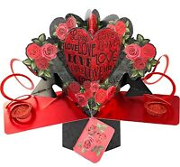 3D Pop Up Card Love Red Roses Floral Valentines Day Fun Romantic Greeting Card
