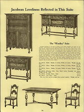 1937 PAPER AD Early English Tudor Pembury Dining Room Furniture Wardley Suite