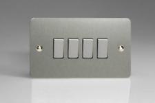 VARILIGHT XFS9D 4 Gang 10a 1 or 2 Way Rocker Switch in Brushed Steel