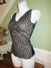 Flexees Black Lace Shapewear Top Nude Fabric Underneath ~ Large Style # 3566