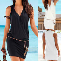 Womens Casual Sleeveless V-Neck Retro Party Beach Mini Dress Beach Sun Dress UK