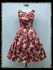 dress190 Red Floral Print 1950's Rockabilly Prom Wedding Bridesmaid Dress 14
