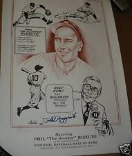 #211 PHIL RIZZUTO SIGNED HALL OF FAME INDUCTION POSTER THE SCOOTER