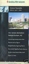 Airline Timetable - America West - 07/04/02 - New to Raleigh Durham