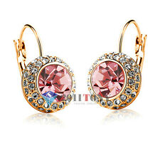 Bridal Jewellery 18K Rose Gold Plated Pink Simulated Diamond Earrings EA67R2