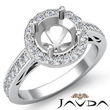 Diamond Engagement Halo Pave Set Filigree Ring Platinum Round Semi Mount 1.3Ct