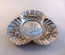 Sterling Cupid & Repousse Design Sterling Tray-5""