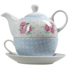 Pastel Floral Polka Dot Tea For One Teapot Pot Cup Mug And Saucer Serving Set