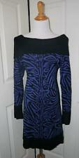 DKNY Size Large Blue Black Zebra Print Off Shoulder Cowl Sweater Dress Tunic
