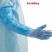 Polythene Gauntlets Blue Pack of 100 Gloves long arm food Veterinary