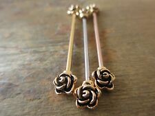 Golden Roses Rose Gold IP Barbell Industrial Scaffold Piercing 32mm 35mm 38mm