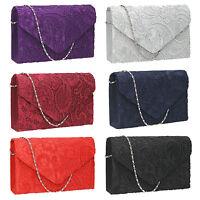 Women Satin Lace Envelope Ladies Evening Party Prom Bridal Smart Clutch Bag Blue
