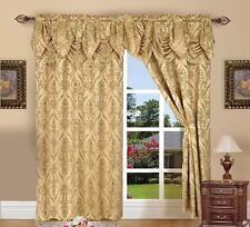 Gold Floral Damask Curtains Set 2 Panels Drapes Pair Valance 84-Inch Darkening
