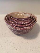 Temp-tations Floral Lace Spring Purple Butterfly Pour Spout Mixing Bowls/Nesting