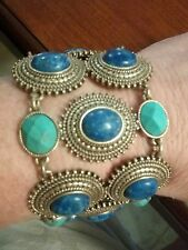 Lucy Brand Turquoise and Lapis Gold Tone Wide Bracelet New w/Tags
