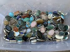 100 GRAMS WHOLESALE LOT RESELL STERLING SILVER 925 GEMSTONE PENDANTS NO SCRAP
