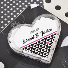 96 Personalized Acrylic Heart Wedding Favor Boxes
