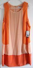 NWT Orange & Peach LOVE 21 Fully Lined Silk Sleeveless Dress with Zip Fastening