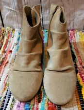 Skechers Skch+3 Hidden Wedge Ankle Tan Suede Ruched Boots Womens Size 8 M