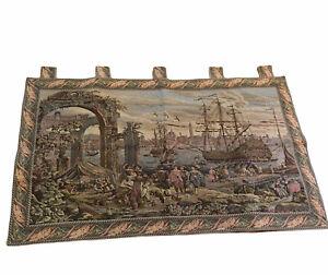 "Old Italian Port Seaside ship Venice Tapestry Wall Hanging 51"" x 31"" Italy"