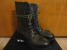 Halmanera Italy Combat Lace Up Distressed Brown Leather Midcalf Boots 38 8
