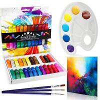 24 Acrylic Premium Paint Set Includes: 3 x Brushes, Mixing Palette & Free Canvas