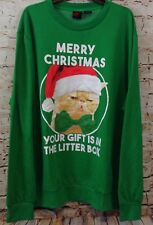 Cat Christmas Sweatshirt Mens 2xl Gift In Litter Box New Green Ugly New C11