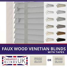 Faux Wood Venetian Blinds With Tapes - Made To Measure 35mm or 50mm Slats
